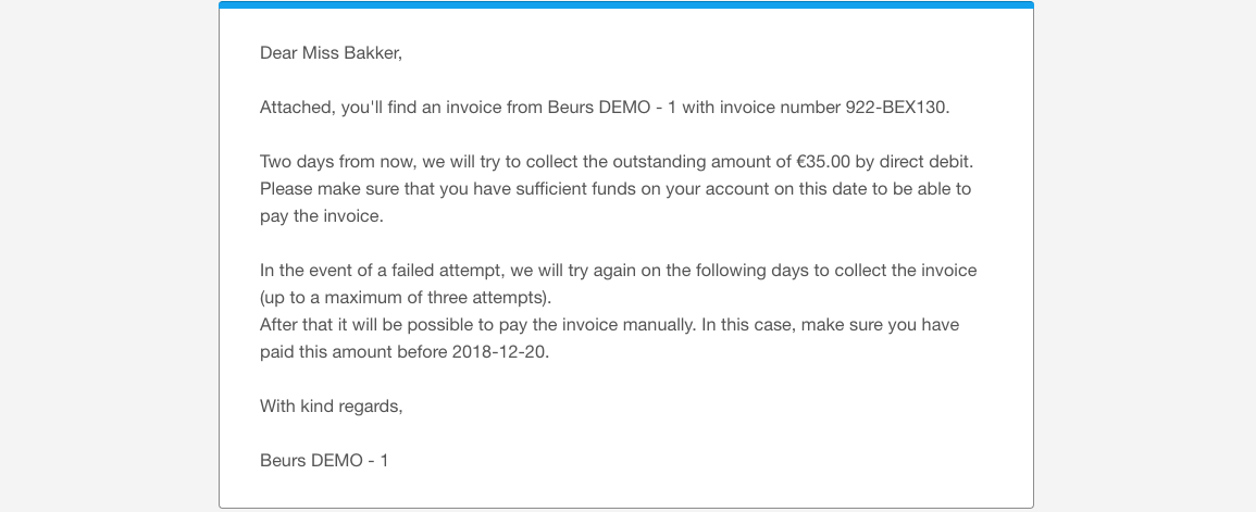 Direct debit email