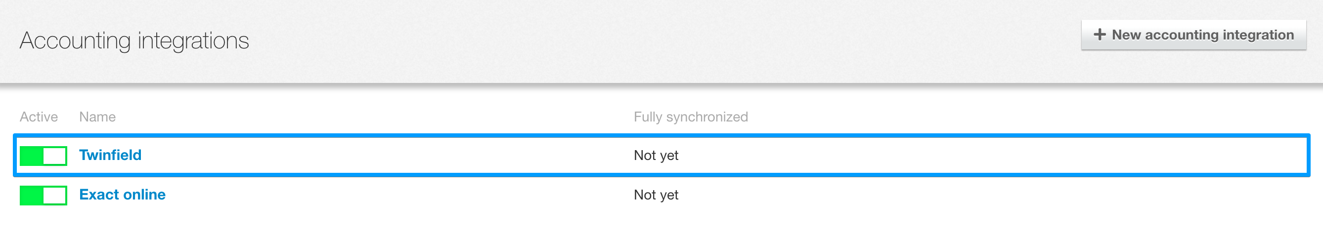 Synchronize bookkeeping integration